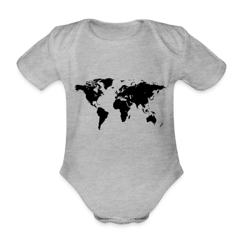 World Map - Baby Bio-Kurzarm-Body