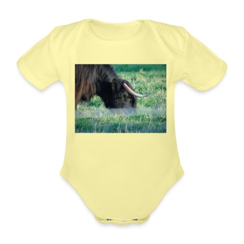 A highland cow - Organic Short-sleeved Baby Bodysuit