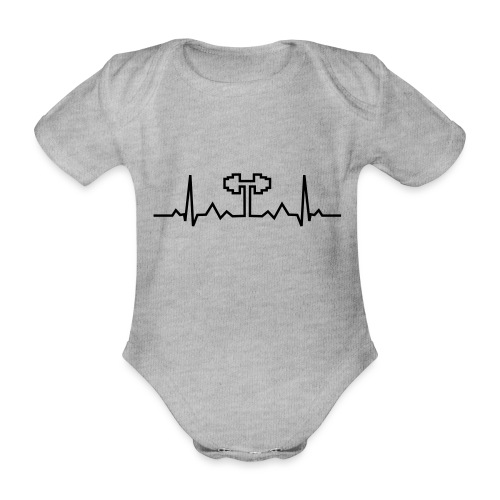 Herzschlag-Hantel, Bodybuilding, Crossfit, Fitness - Baby Bio-Kurzarm-Body