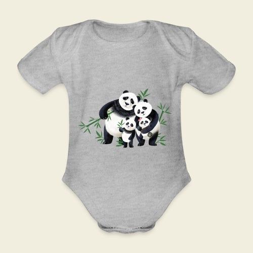 Pandafamilie zwei Kinder - Baby Bio-Kurzarm-Body