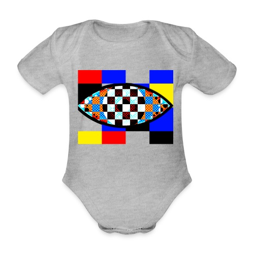 eye with squares in strong colors - Organic Short-sleeved Baby Bodysuit