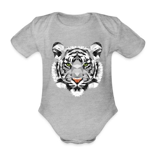 Weißer Tiger Polygon schwanger Babybauch Geschenk - Baby Bio-Kurzarm-Body