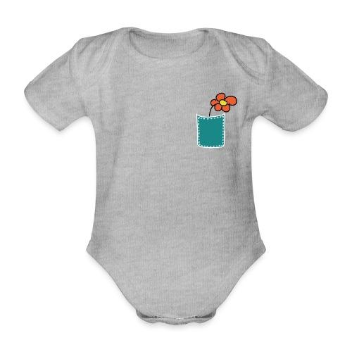Brusttasche Blume - Baby Bio-Kurzarm-Body