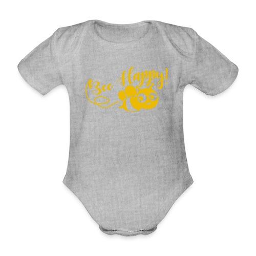 bee happy geel - Baby bio-rompertje met korte mouwen