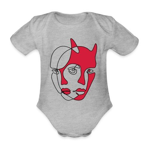 Två ansikten - Ekologisk kortärmad babybody