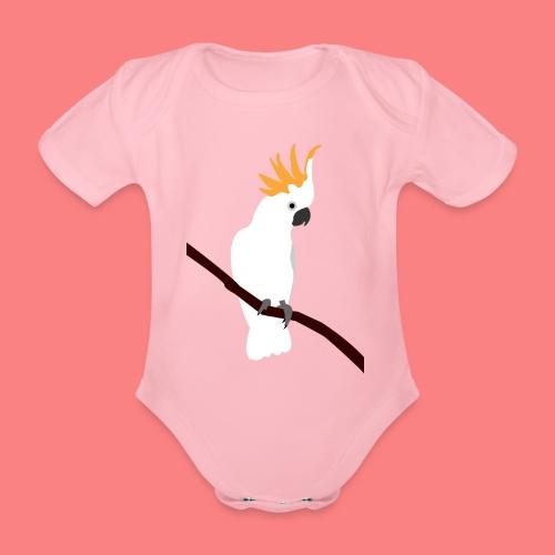 WHITE CACATUA - Body ecologico per neonato a manica corta
