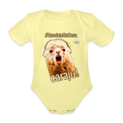 Quedate En Casa Caraju - Body orgánico de maga corta para bebé