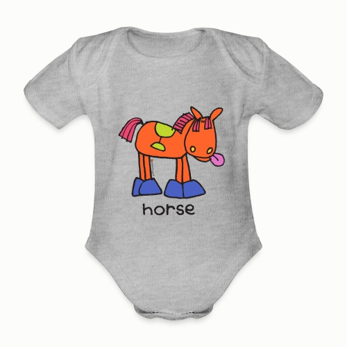 horse - Organic Short-sleeved Baby Bodysuit