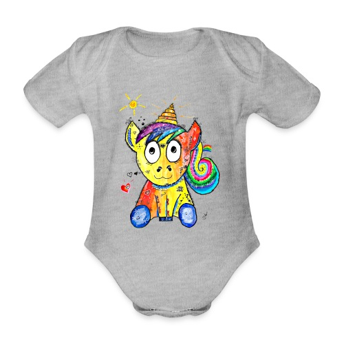 Happy Unicorn - Baby Bio-Kurzarm-Body