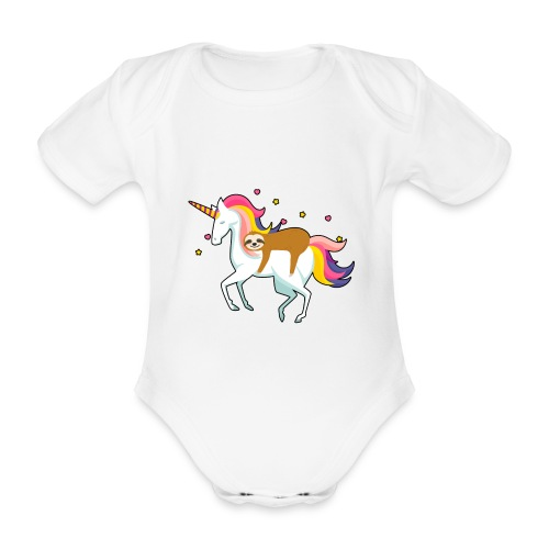 Funny Sloth Riding Unicorn - Baby Bio-Kurzarm-Body