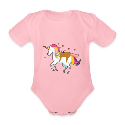 Funny Sloth Riding Unicorn - Baby Bio-Kurzarm-Body