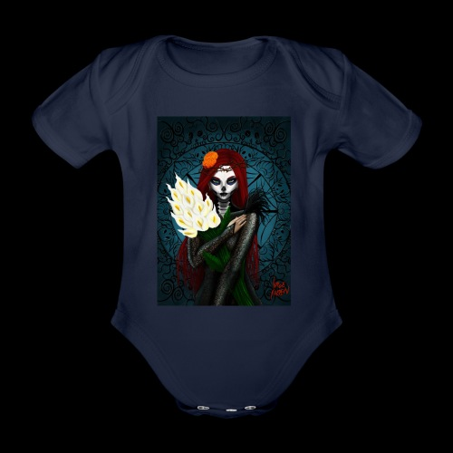 Death and lillies - Organic Short-sleeved Baby Bodysuit