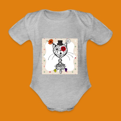 cat color - Organic Short-sleeved Baby Bodysuit