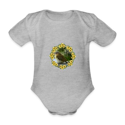 Vögelchen im Blumenkranz - Baby Bio-Kurzarm-Body