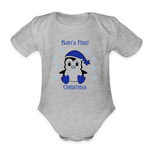 Penguin boy first christmas - Baby bio-rompertje met korte mouwen
