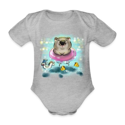 Wombat in Sommerstimmung - Baby Bio-Kurzarm-Body
