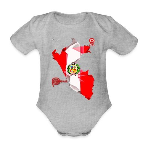 Mapa del Perú, Bandera y Escarapela - Body orgánico de manga corta para bebé