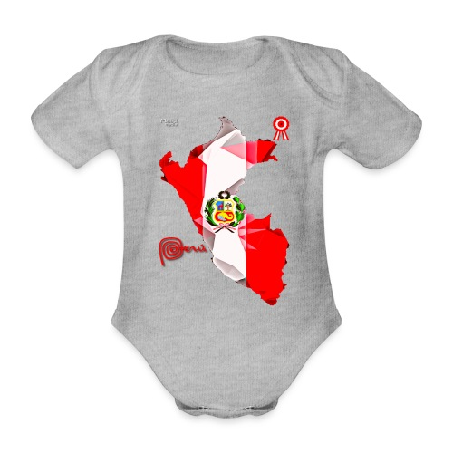 Mapa del Peru, Bandera y Escarapela - Organic Short-sleeved Baby Bodysuit