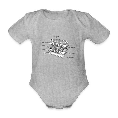 Exploded harmonica - black text - Organic Short-sleeved Baby Bodysuit