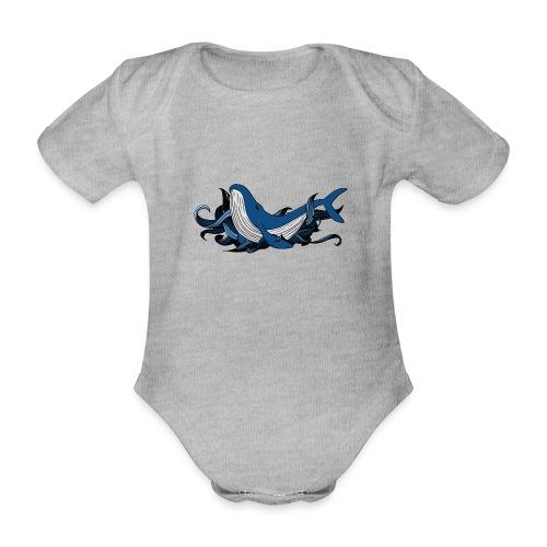 Doodle ink Whale - Body ecologico per neonato a manica corta