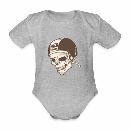 Helmet Skull Wild Rider - Organic Short-sleeved Baby Bodysuit