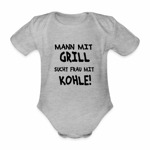 Mann mit Grill - Baby Bio-Kurzarm-Body