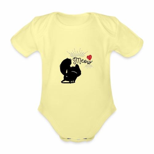 gatto meow - Body ecologico per neonato a manica corta