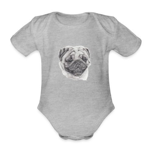 Pug mops 2 - Kortærmet babybody, økologisk bomuld
