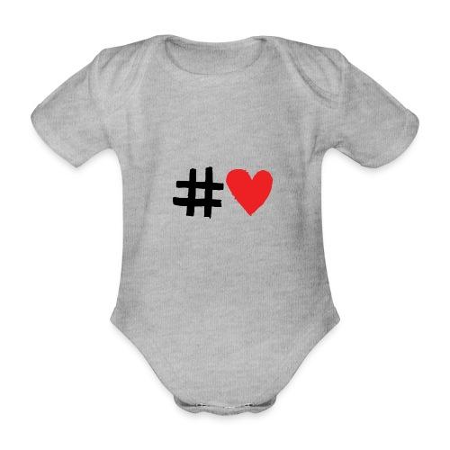 #Love - Kortærmet babybody, økologisk bomuld