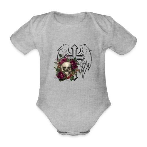 Floral Skull at Angels Cross - Baby Bio-Kurzarm-Body