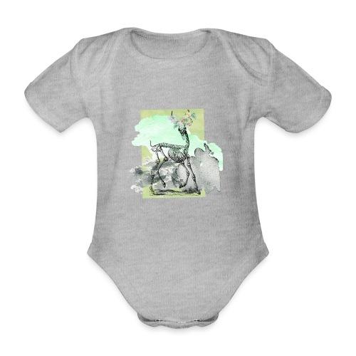 Flowery Deer Skeleton - Baby Bio-Kurzarm-Body