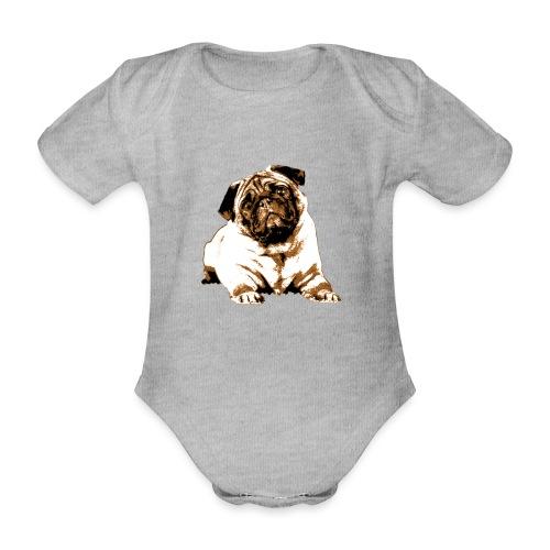 Pug Sepia - Baby Bio-Kurzarm-Body