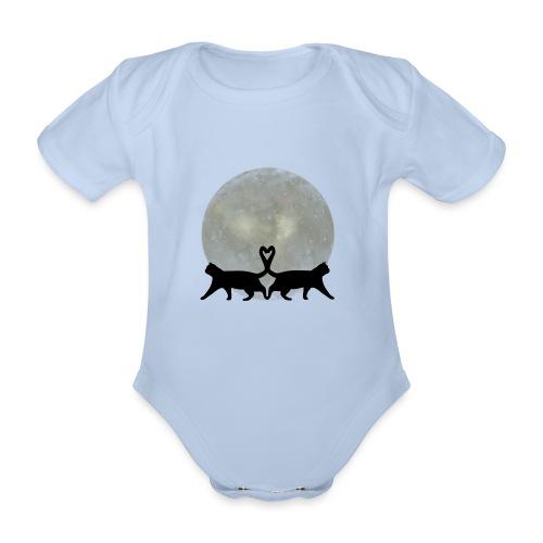 Cats in the moonlight - Baby bio-rompertje met korte mouwen