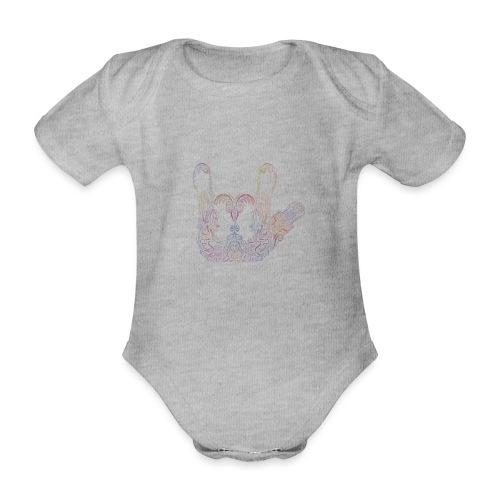 ILY Handzeichen Mandala - Baby Bio-Kurzarm-Body