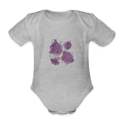 Violet splash chinchilla - Vauvan lyhythihainen luomu-body