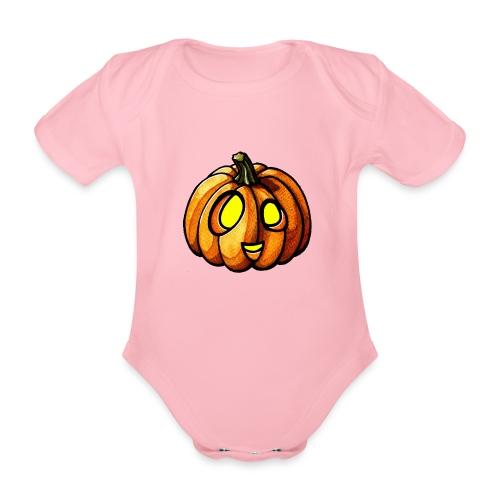 Pumpkin Halloween watercolor scribblesirii - Vauvan lyhythihainen luomu-body