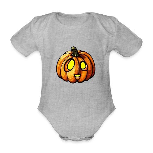 Pumpkin Halloween watercolor scribblesirii - Kortærmet babybody, økologisk bomuld