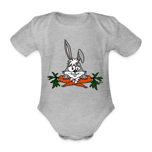 Lapin avec carottes, végétarien, végan - Body Bébé bio manches courtes
