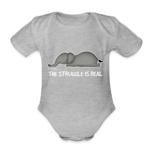 Amy's 'Struggle' design (white txt) - Organic Short-sleeved Baby Bodysuit
