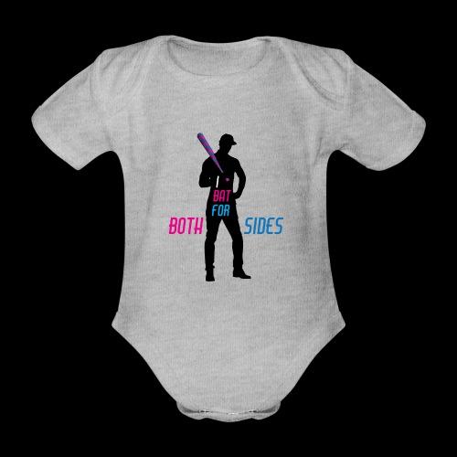 I bat for both sides male - Organic Short-sleeved Baby Bodysuit