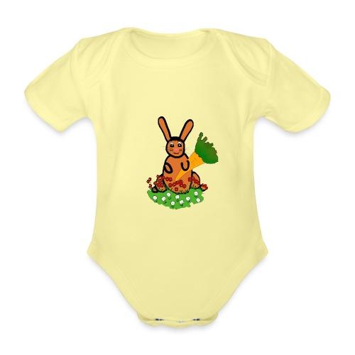Rabbit with carrot - Organic Short-sleeved Baby Bodysuit