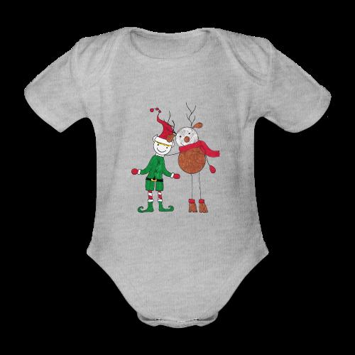 Elfo e Renna di Nonna Catia - Body ecologico per neonato a manica corta