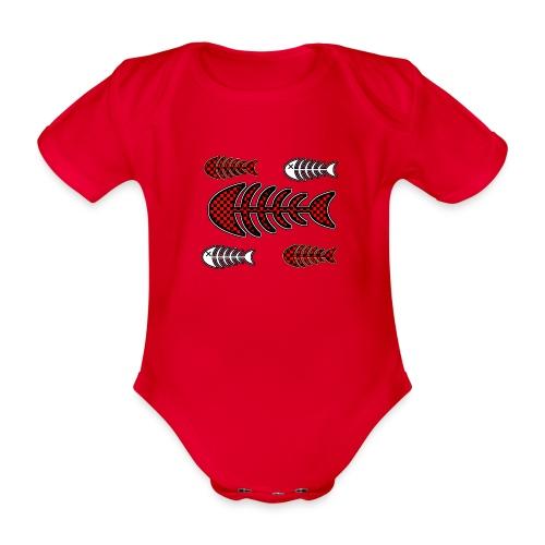 fish bones, skeleton with squares and cross to eye - Organic Short-sleeved Baby Bodysuit