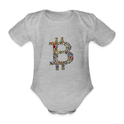 BITCOIN logo color - Baby bio-rompertje met korte mouwen
