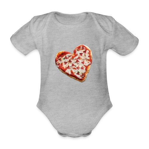 Pizza a cuore - Body ecologico per neonato a manica corta