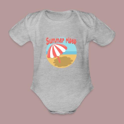 Summer rises parasol sur une plage / mer ciel été - Body Bébé bio manches courtes