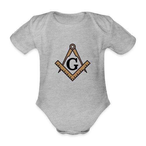 Freimaurer Symbol, Wappen Zirkel & Winkelmaß - Baby Bio-Kurzarm-Body