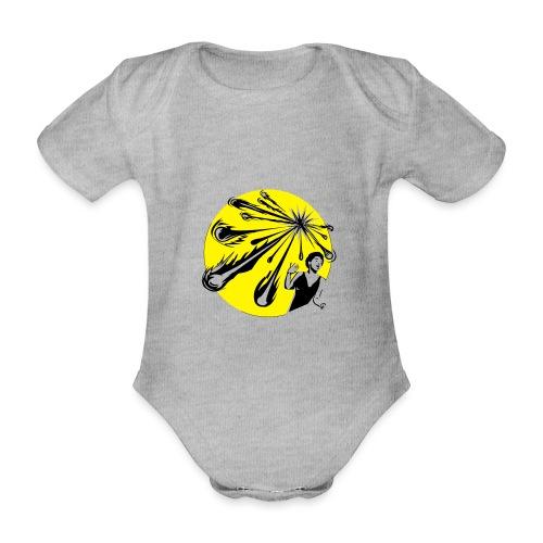 Yellow Meteor Shower Scream - Organic Short-sleeved Baby Bodysuit
