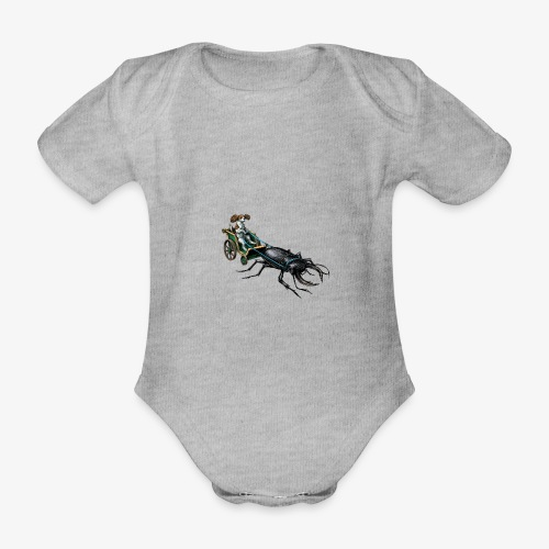King Charles Spaniel with Stag beetle steed - Organic Short-sleeved Baby Bodysuit