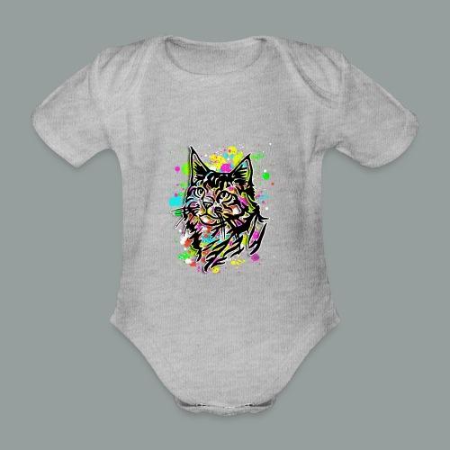 Bunte Katze - Baby Bio-Kurzarm-Body